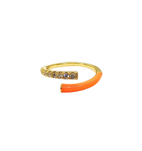 Load image into Gallery viewer, 18k-Yellow-Gold-Plated-Enamel-Pave-Split-Ring-Orange
