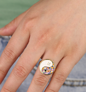 18k Yellow Gold Plated Enamel Rainbow Yin & Yang Ring