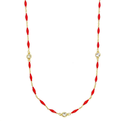 18k-Yellow-Gold-Vermeil-Enamel-Bead-And-Cubic-Zirconia-Chain-Necklace-Red
