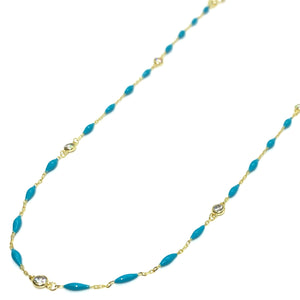 18k-Yellow-Gold-Vermeil-Enamel-Bead-And-Cubic-Zirconia-Chain-Necklace-Turquoise