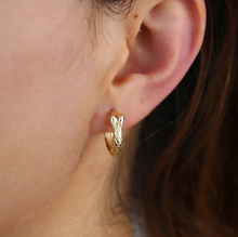Load image into Gallery viewer, 18k-Yellow-Gold-Vermeil-Etched-Detail-Gold-Snake-Stud-Hoops