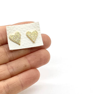 18k Yellow Gold Vermeil Pave Evelyn Heart Studs