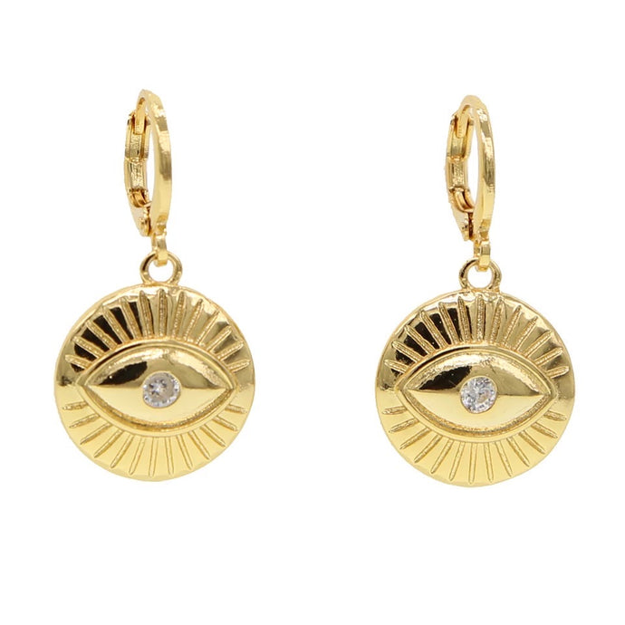 18k Yellow Gold Plated Evil Eye Coin Huggies