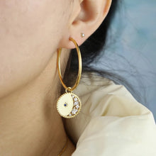Load image into Gallery viewer, 18k yellow gold plated Finley moon hoops