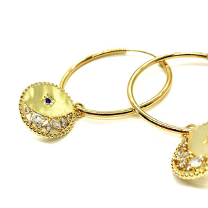 18k yellow gold plated Finley moon hoops