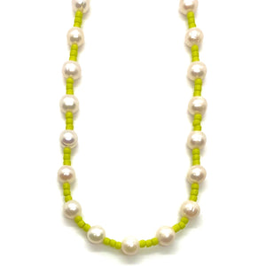 Freshwater Pearl & Neon Seed Bead Necklace - Lime Green