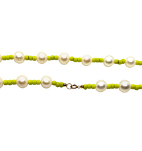 Load image into Gallery viewer, Freshwater Pearl & Neon Seed Bead Necklace - Lime Green