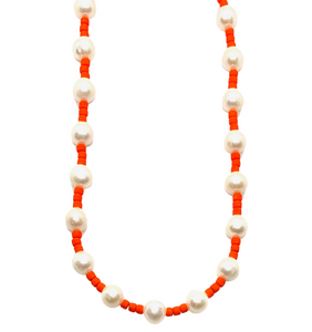 Freshwater Pearl & Neon Seed Bead Necklace - Orange