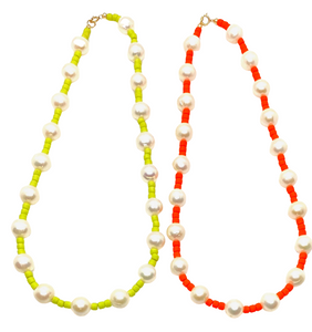 Freshwater Pearl & Neon Seed Bead Necklace