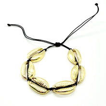 Load image into Gallery viewer, Gold Plated Cowrie Shell Macrame Bracelet - Black Cord