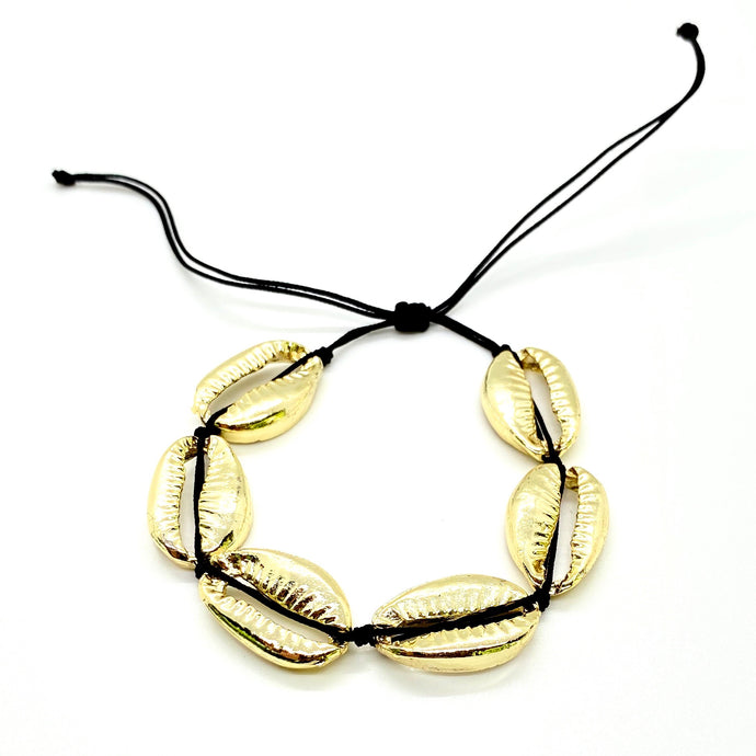 Gold Plated Cowrie Shell Macrame Bracelet - Black Cord