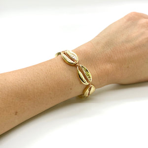 Gold Plated Cowrie Shell Macrame Bracelet - Camel Cord
