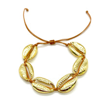Load image into Gallery viewer, Gold Plated Cowrie Shell Macrame Bracelet - Camel Cord