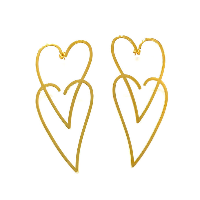 18k Yellow Gold Plated Gold Double XL Heart Earrings