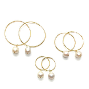 18k Yellow Gold Filled Pearl Wire Sleeper Hoops