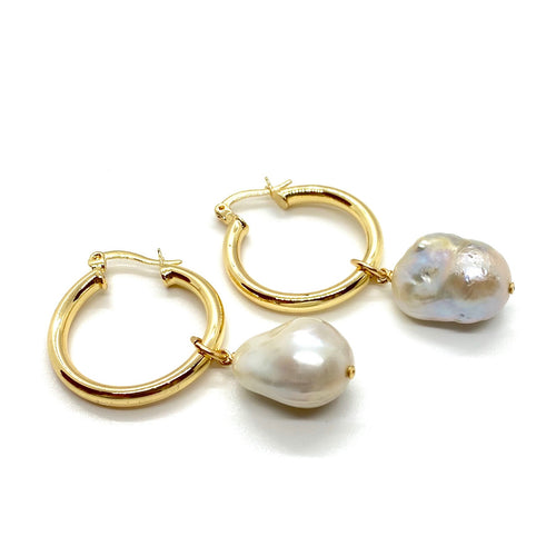 18K-Yellow-Gold-Filled-Jordana-And-Baroque-Pearl-Hoops