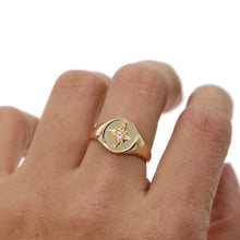 Load image into Gallery viewer, 18k-Yellow-Gold-Plated-Starburst-Signet-Ring