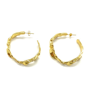 18k Yellow Gold Plated Large Golden Wave Hoops