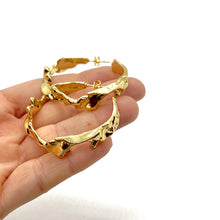 Load image into Gallery viewer, 18k Yellow Gold Plated Large Golden Wave Hoops