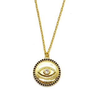 18k Yellow Gold Plated Harper Evil Eye Coin Necklace - Black
