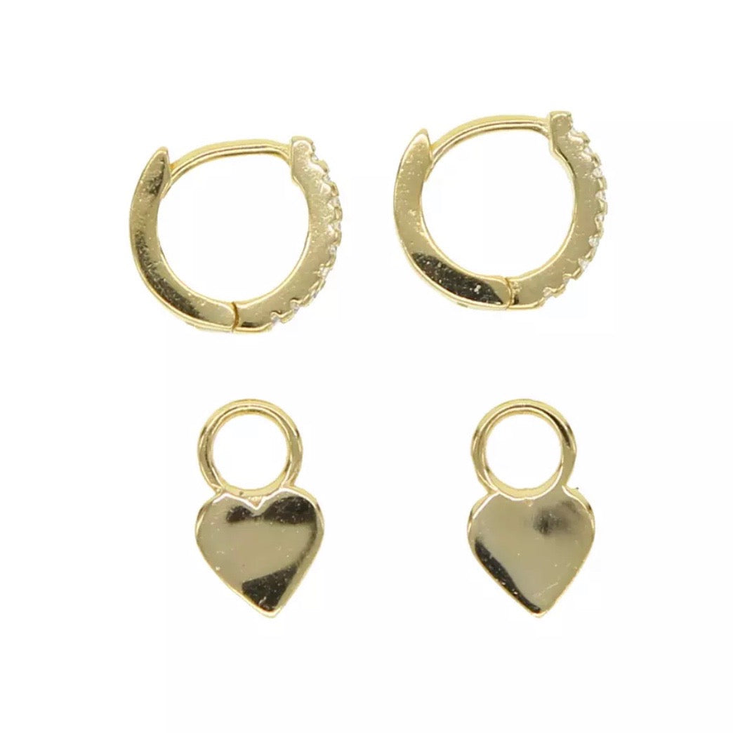 18k Yellow Gold Vermeil Pave Heart Drop Huggies