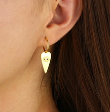 Load image into Gallery viewer, 18k-Yellow-Gold-Plated-Heart-And-Etched-Evil-Eye-Stud-Hoops