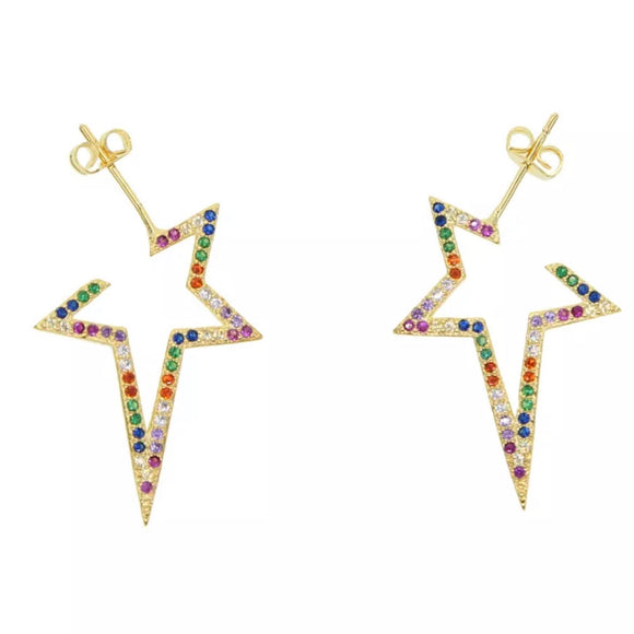 18k Yellow Gold Plated Hope Rainbow Star Earrings