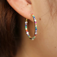 Load image into Gallery viewer, 18k-Yellow-Gold-Plated-Ida-Rainbow-Hoops