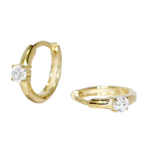 18k Yellow Gold Vermeil Itty-Bitty Single Diamond Huggies