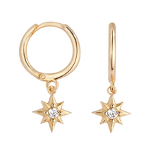 Load image into Gallery viewer, 18k Yellow Gold Vermeil Itty-Bitty Starburst Huggies