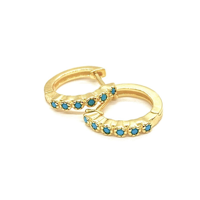 18k Yellow Gold Vermeil Itty-Bitty Turquoise Etched Huggies