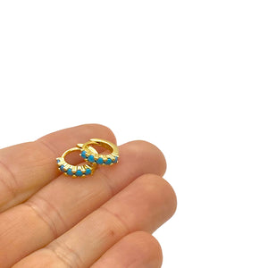 18k yellow gold vermeil itty-bitty turquoise huggies