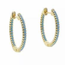 Load image into Gallery viewer, 18k yellow gold plated pave Ivy hoops turquoise