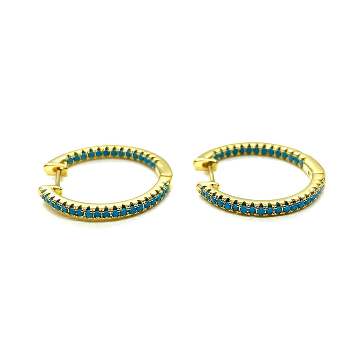 18k yellow gold plated pave Ivy hoops turquoise