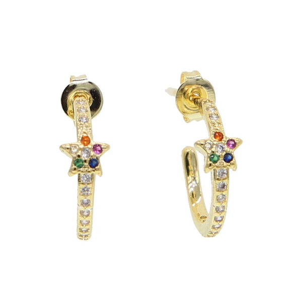 18k Yellow Gold Plated Pave Jessica Rainbow Star Hoops