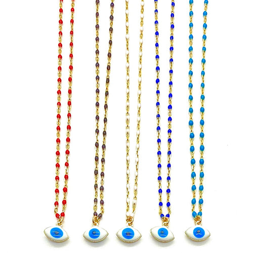 18k-Yellow-Gold-Vermeil-Jessie-Enamel-Ball-Chain-And-Mini-Evil-Eye-Charm-Necklace