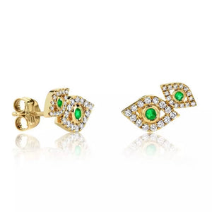 18k Yellow Gold Plated Pave Jolene Evil Eye Studs