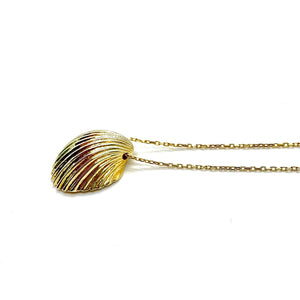 Large Gold Fan Shell Charm Necklace