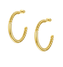 Load image into Gallery viewer, 18k Yellow Gold Plated Large Rope & Bar Hoops