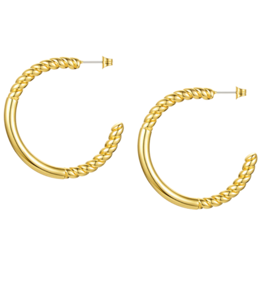 18k Yellow Gold Plated Large Rope & Bar Hoops