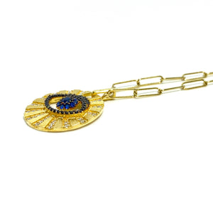 18k-Yellow-Gold-Vermeil-Large-Matte-Gold-And-Pave-Evil-Eye-Coin-Necklace