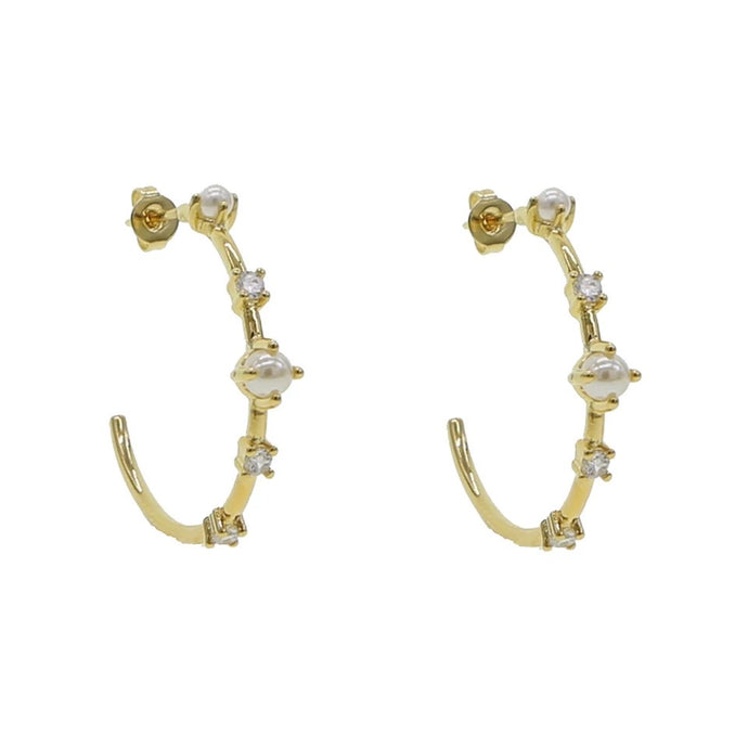 18k yellow gold plated Leilani pearl hoops