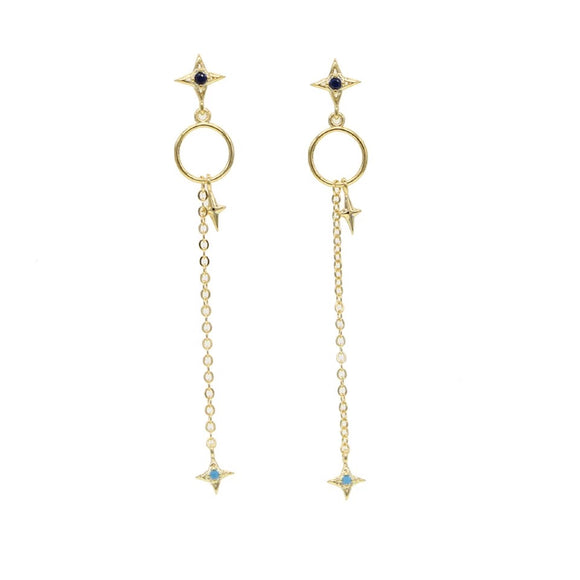 18k Yellow Gold Plated Lena Chain Stud Earrings