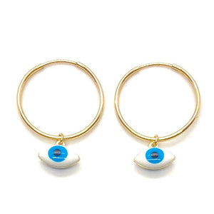 14K Yellow Gold Filled Wire Sleeper Hoops with Mini Blue & White Evil Eye Charms