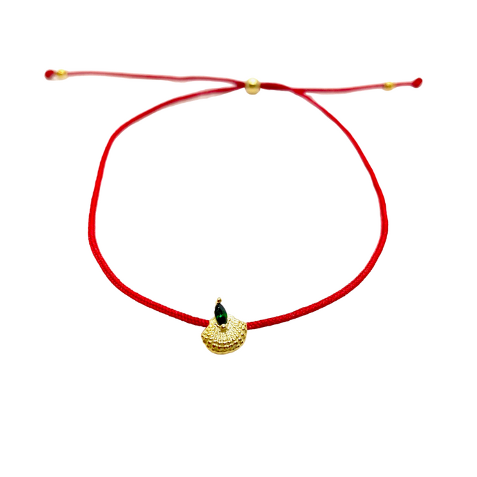18k Yellow Gold Vermeil Lucky Red String Fan Shell Charm Bracelet