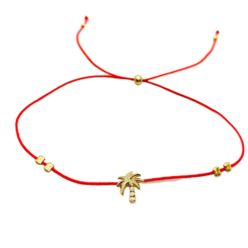 18k Yellow Gold Vermeil Lucky Red String Palm Tree Bracelet