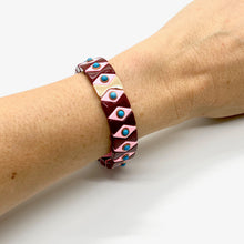Load image into Gallery viewer, Suki Enamel Tile Stretch Bracelet - Maroon & Pink