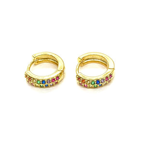 18k Yellow Gold Plated Medium Sized Rainbow Pave Huggies