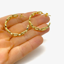Load image into Gallery viewer, 18k-Yellow-Gold-Plated-Medium-Pave-Chain-Link-Hoops