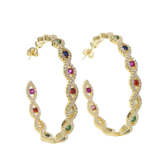 18k yellow gold rainbow pave Micayla Evil Eye hoops